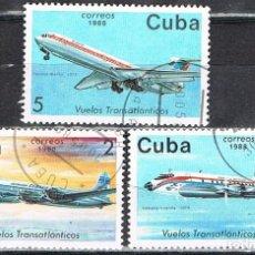 Sellos: CUBA Nº 3194, AVIONES DE LA COMAÑIA AEREA TRASATLANTICA CUBANA, USADO. Lote 260732775