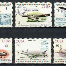Sellos: ⚡ DISCOUNT CUBA 1977 THE 50TH ANNIVERSARY OF CUBAN AIRMAIL MNH - AVIATION, AIRCRAFT. Lote 261277400