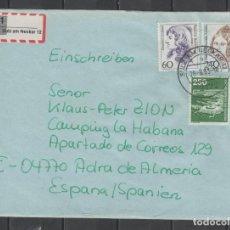 Sellos: SOBRE CIRCULADO POR CORREO CERTIFICADO ENTRE ALEMANIA Y ESPAÑA -AEROPUERTO DE FRANKFURT-, AÑO 1982. Lote 261575695