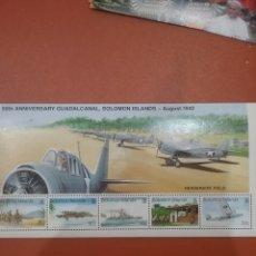 Sellos: HB I. SALOMON NUEVAS/1992/2A/GUERRA/MUNDIAL/50ANIV/BATALLA/GUADALCANAL/AVIONES/BARCOS/MILITAR/SOLDAD. Lote 277830188