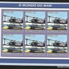 Sellos: MOZAMBIQUE 2002 HOJA BLOQUE SELLOS TRANSPORTE HIDROAVIONES - AVION - AVIONES. Lote 287419013