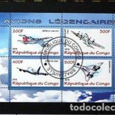 Sellos: CONGO 2009 HOJA BLOQUE DE SELLOS TEMATICA AVIONES- CONCORDE- AIRCRAFT- AVIONES LEGENDARIOS. Lote 287419623