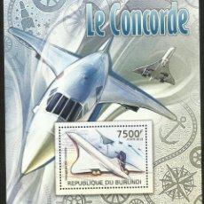 Sellos: BURUNDI 2012 HOJA BLOQUE SELLOS TEMATICA AVIONES MODERNOS- CONCORDE- AVION- AVIACION. Lote 287419713