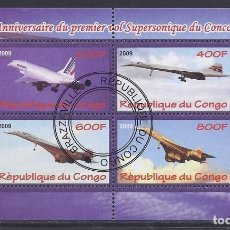 Sellos: CONGO 2009 HOJA BLOQUE DE SELLOS TEMATICA AVIONES- CONCORDE- AIRCRAFT. Lote 287422093