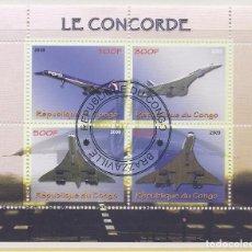 Sellos: CONGO 2009 HOJA BLOQUE DE SELLOS TEMATICA AVIONES - CONCORDE - AIRCRAFT. Lote 287422613