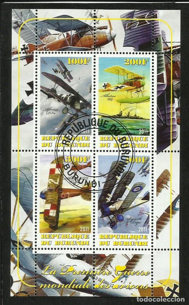 BURUNDI 2011 HOJA BLOQUE DE SELLOS AVIONES MILITARES PRIMERA GUERRA MUNDIAL AVION - BIPLANOS (Sellos - Temáticas - Aviones)