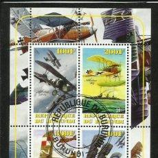 Sellos: BURUNDI 2011 HOJA BLOQUE DE SELLOS AVIONES MILITARES PRIMERA GUERRA MUNDIAL AVION - BIPLANOS. Lote 287424753