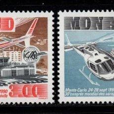 Sellos: MONACO 1736/37** - AÑO 1990 - HELICOPTEROS - ASOCIACION INTERNACIONAL DE AEROPUERTOS CIVILES. Lote 288570793