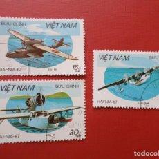 Sellos: VIETNAM, 1987, HIDROAVIONES. Lote 289677408