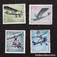 Sellos: LOTE 4 SELLOS 50 ANIVERSARIO DE LA AVIACIÓN ESPAÑOLA ESPAÑA 1961. Lote 289879728