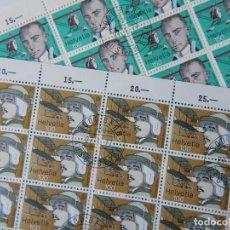 Sellos: 2 HB SUIZA 1977 – PIONEROS AVIACIÓN / FLIGHT PIONEERS / ARMAND DUFAUX - WALTER MITTELHOLZER. Lote 292569403
