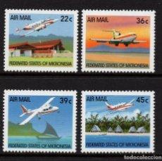 Sellos: MICRONESIA AEREO 39/42** - AÑO 1990 - AVIONES. Lote 295355638