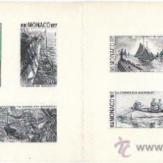 Sellos: MONACO (AÑO 1977), LA CARRERA DE UN NAVEGANTE (ALBERTO I), PRUEBA EN NEGRO. Lote 27858190