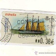 Sellos: SELLO USADO DE VALOR VARIABLE DEDICADO AL TEMA BARCOS (PAILEBOTE SANTA EULÀLIA) . Lote 30039258