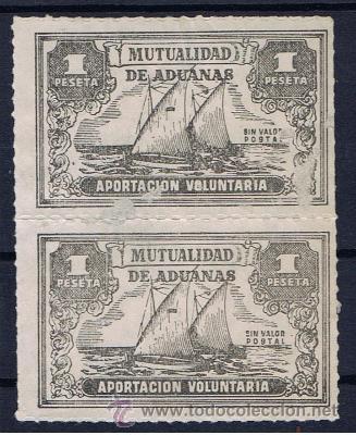 MUTUALIDAD DE ADUANAS 1 PTS NUEVO(*) SIN VALOR POSTAL APORTACION VOLUNTARIA (Sellos - Temáticas - Barcos)