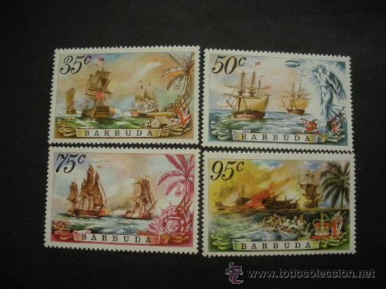 BARBUDA 1975 IVERT 213/6 *** BATALLAS NAVALES - BARCOS (Sellos - Temáticas - Barcos)