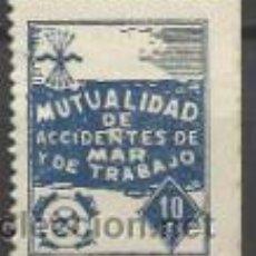 Sellos: 8158-SELLO BENEFICO FALANGE ESPAÑA MUTUALIDAD ACCIDENTES DEL MAR 10 CENTIMOS,MARINA,NAUFRAGOS,BARCOS. Lote 37033318