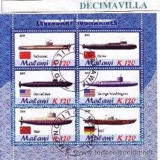 Sellos: TRANSPORTES, SUBMARINOS, MALAWI, 2011, L284, HOJA-BLOQUE USADA. Lote 228568590