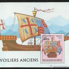 Sellos: BENIN 1997 HOJA BLOQUE SELLOS BARCOS DE NAVEGACION- BOATS- VOILIERS - BARCO - SHIPS. Lote 41447633