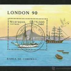 Sellos: NICARAGUA 1990 HOJA BLOQUE SELLOS BARCOS DE NAVEGACION- BOATS- VOILIERS - BARCO - SHIPS. Lote 41447656