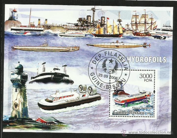 GUINEA BISSAU 2006 HOJA BLOQUE SELLOS FAROS Y BARCOS DE NAVEGACION- BOATS- VOILIERS - BARCO - SHIPS (Sellos - Temáticas - Barcos)