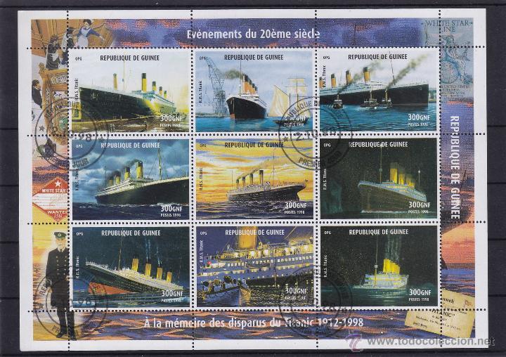 REP. GUINEA ¡¡ LOTE DE 20 MINIPLIEGOS ¡¡ 1998 USADO º , MAT. PRIMER DIA BARCO , BARCOS TITANIC , (Sellos - Temáticas - Barcos)