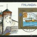 Sellos: CUBA 1988 HOJA BLOQUE TEMATICA BARCO- EXPOSICION FILATELICA FINLANDIA 88- CASTILLO DE OLAVINLINNA. Lote 44389086