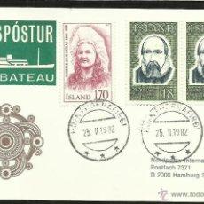 Sellos: ISLANDIA 1982 TARJETA PRIMER DIA DE CIRCULACION BARCOS- VELEROS- - FDC . Lote 48866894