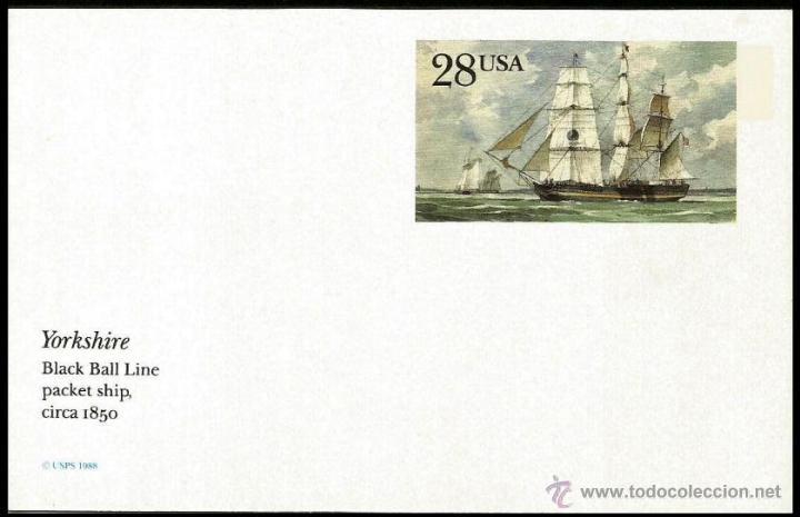 USA 1988 ENTERO POSTAL YORKSHIRE (Sellos - Temáticas - Barcos)