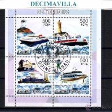Sellos: L643, GUINEA BISSAU, 2006, BARCOS, HYDROFOIL, FAROS. Lote 53305100