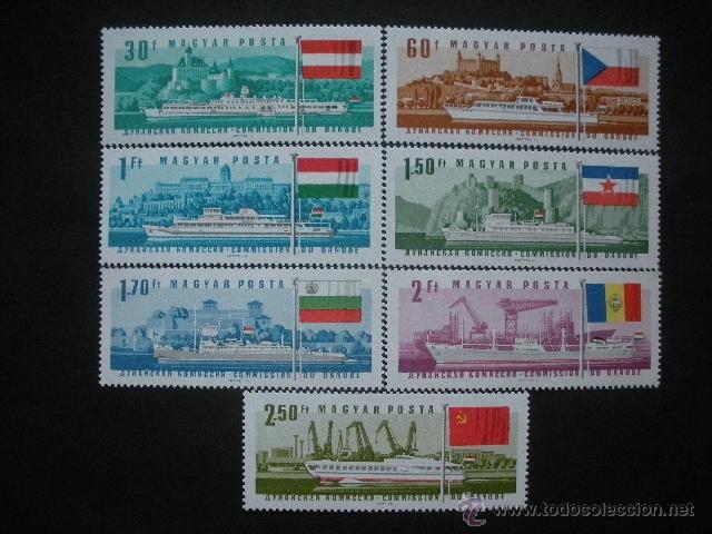 HUNGRIA 1967 IVERT 1889/95 *** 25ª SESIÓN DE LA COMISIÓN INTERNACIONAL DEL DANUBIO - BARCOS (Sellos - Temáticas - Barcos)