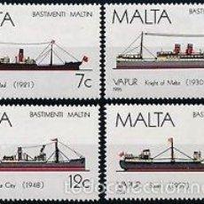 Sellos: MALTA 1986 IVERT 739/42 *** HISTORIA DE LA MARINA MALTESA (IV) - BARCOS. Lote 57547360