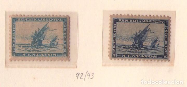 SERIE NUEVA DE ARGENTINA 92/93, AÑO 1892 (CRISTOBAL COLON). REVERSO AMARILLO DEL TIEMPO. (Sellos - Temáticas - Barcos)