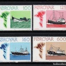 Sellos: FEROE 18/21** - AÑO 1977 - BARCOS DE PESCA. Lote 116305810