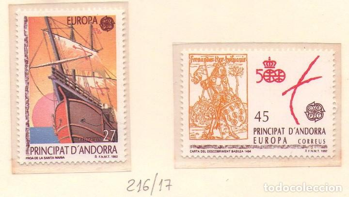 Sellos: ANDORRA 216-17, EUROPA´92. CRISTOBAL COLON. - Foto 1 - 75940135