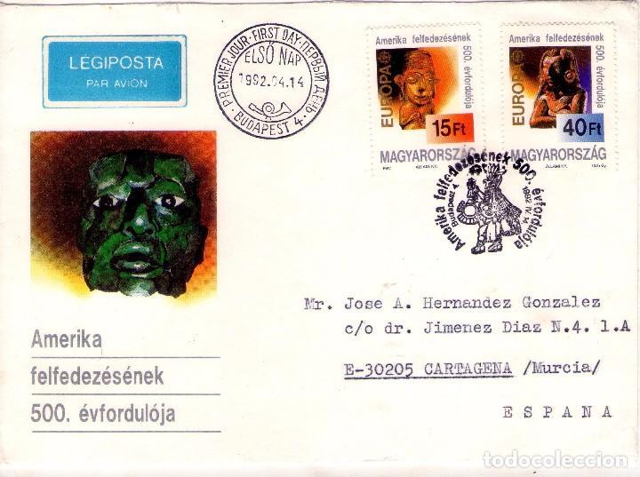 HUNGRIA, FDC. EUROPA 1992, CIRCULADO. CRISTOBAL COLON (Sellos - Temáticas - Barcos)