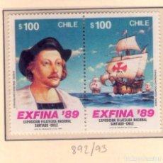 Sellos: CHILE, 1989, 892-93 CRISTOBAL COLON.. Lote 133981246