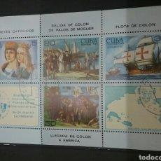 Sellos: HB / SELLOS (6V) DE CUBA MATASELLADOS. 1984. DESCUBRIMIENTO.COLON.AMERICA.BARCOS.MAPAS.REYES CATOLIC. Lote 100170446