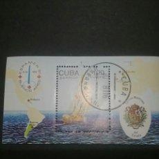 Sellos: HB DE CUBA MATASELLADA. 1981. BARCO. VELERO. CORREOS. OCEANO. MAPA. ESCUDO. CONTINENTES.. Lote 104561740