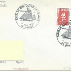 Sellos: 1992. FRANCIA/FRANCE. BREST, SOBRE CIRCULADO CON MATASELLOS VELERO. POSTMARK SAILBOAT. BARCOS/SHIPS.. Lote 109694755