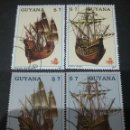 Sellos: SELLOS DE R. C. GUYANA (GUAYANA) MTDOS. 1988. GRANDE FRANCOISE. SANTA MARIA. BARCOS. VELEROS. ANIVER. Lote 110931822