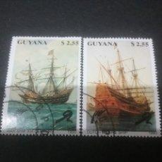 Sellos: SELLOS DE R. C. GUYANA (GUAYANA) MTDOS. 1990. BARCOS. GUERRA. VELERO. DANES. BANDERA. FLOTA.NAVIO. Lote 110937322