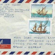 Sellos: 1985. SIERRA LEONE. SOBRE CIRCULADO CON 3 SELLOS TEMA VELEROS. BARCOS/SHIPS. SAILBOATS.. Lote 111385179