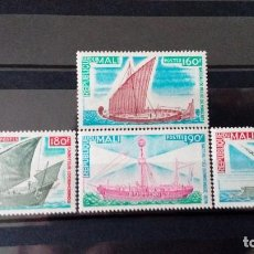 Sellos: MALI AÑO 1976 - YT 271/274 *** - BARCOS (BARCOS ANTIGUOS) - SERIE COMPLETA. Lote 112985907