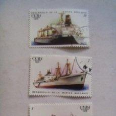Sellos: LOTE DE 3 SELLOS DE CUBA : MARINA MERCANTE , BARCOS. Lote 113877795