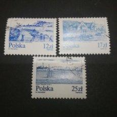Sellos: SELLOS DE POLONIA (POLSKA) MATASELLADOS. 1982. RIO VISTULA. BARCOS. PUEBLOS. PUERTO. VELEROS. Lote 114919439