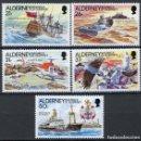 Sellos: ALDERNEY 1991 IVERT 49/53 *** HISTORIA DEL FARO DE LA CASQUETS - BARCOS Y FAROS. Lote 114929507