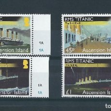 Sellos: ASCENSION ISLAND 2012 RMS TITANIC Y&T 1056/1059**. Lote 115495643