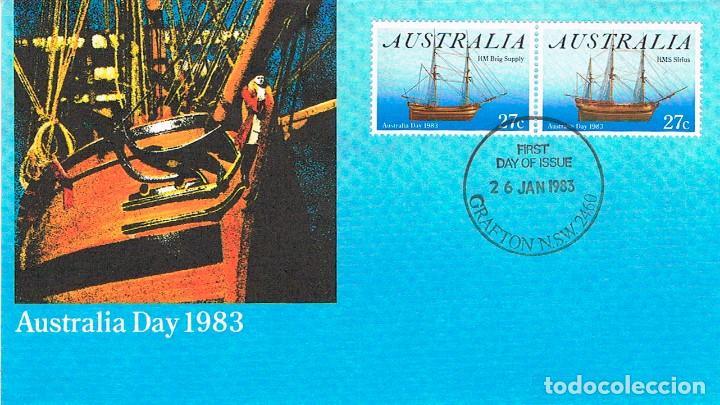 AUSTRALIA, BARCOS DE VELA: H. M. S. SIRIUS Y H. M. BRICK SUPPLY,.PRIMER DIA 26-1-1983 (Sellos - Temáticas - Barcos)