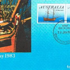 Sellos: AUSTRALIA, BARCOS DE VELA: H. M. S. SIRIUS Y H. M. BRICK SUPPLY,.PRIMER DIA 26-1-1983. Lote 122453571